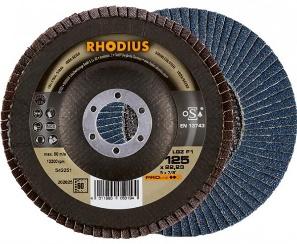 Rhodius LSZF1 Fächerschleifscheiben GERADE Zirkonrund mit Gewebeteller