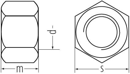 6kt-Muttern DIN 934/ ISO 4032 Ms M6