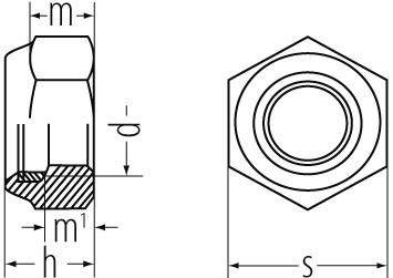 Stop-Muttern DIN 985/ ISO 10511 A2 M10